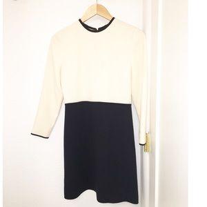 VICTORIA BECKHAM Long Sleeve Mini Black/Cream SZ:4